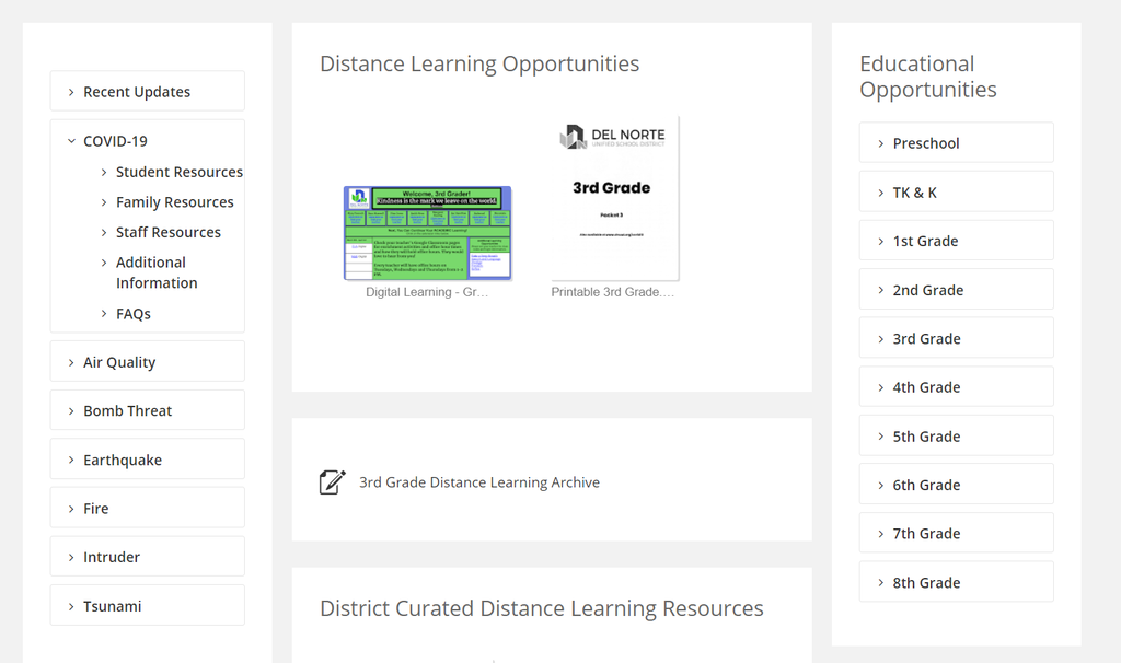 Distance Learning Opportunities - Digital & Paper Packets