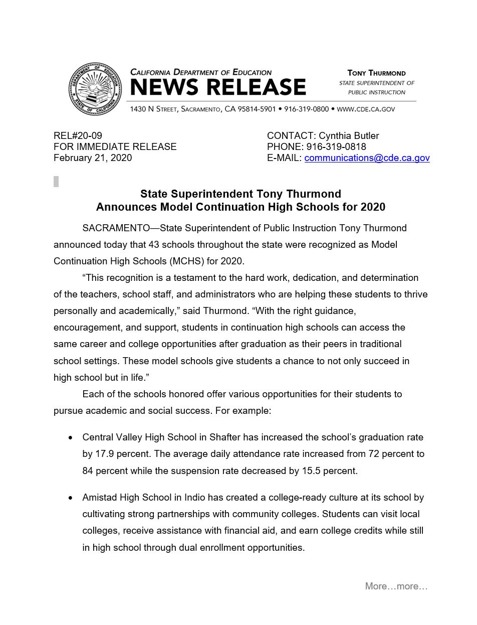 CDE - Sunset High School Receives 2020 Continuation High School Award