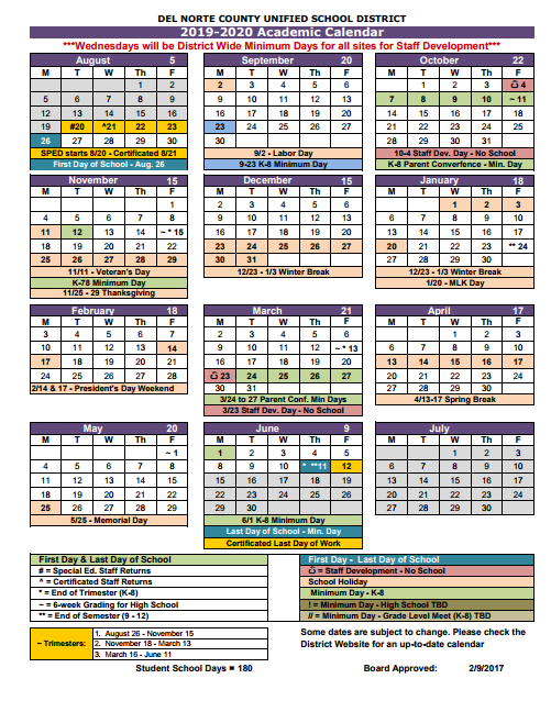 California School Calendar 2019 About Us / Academic Calendar
