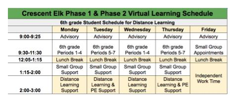 6th grade Virtual Learning Schedule